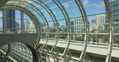 View of Downtown San Diego through Convention Center Windows